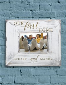 gifts: Personalised White Wash First Home Frame!