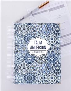 gifts: Personalised Blue Pattern Journal!