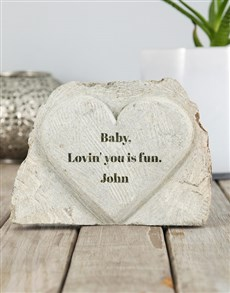 gifts: Personalised Lovin You Stone Heart!