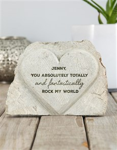 gifts: Personalised Rock My World Stone Heart!