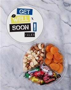 gifts: Personalised Get Well Fruit & Nut Tub!
