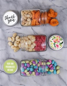 gifts: Personalised Floral Thanks Fruit Jar Trio!