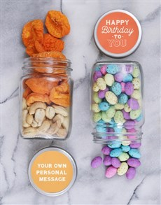 gifts: Personalised Happy Bday Nut Jar Set!