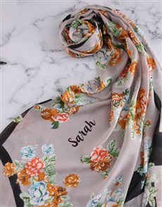 gifts: Personalised Blue Floral Scarf Gift!