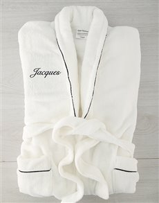 gifts: Personalised White Fleece Gown with Piping!