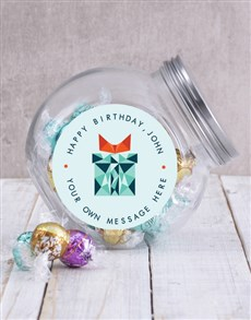gifts: Personalised Geo Birthday Candy Jar!