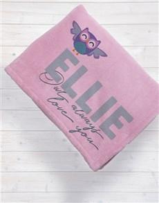 gifts: Personalised Owl Baby Fleece Blanket!