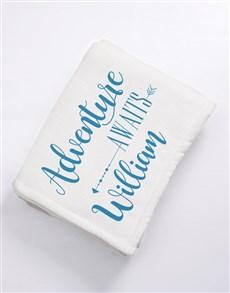 gifts: Personalised Adventure Awaits Baby Fleece Blanket!