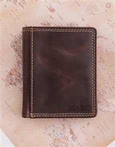 gifts: Personalised Brown Leather Wallet!