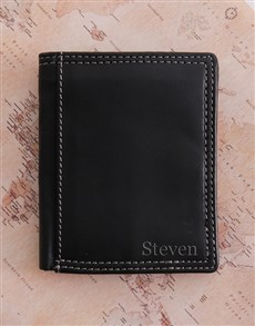 gifts: Personalised Black Leather Wallet!