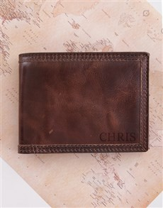 gifts: Personalised Brown Leather Billfold!