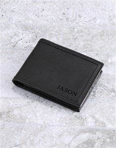 gifts: Personalised Black Leather Billfold!