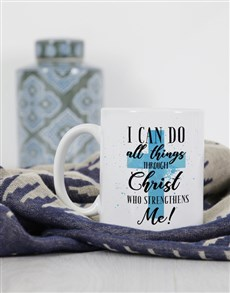 gifts: Personalised All Things Through Christ Mug!