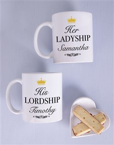 gifts: Personalised Lordship Couples Mug Set!