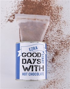 gifts: Personalised Blue Hot Chocolate Tin!