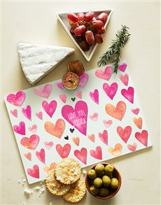 gifts: Hearts Personalised Glass Chopping Board!