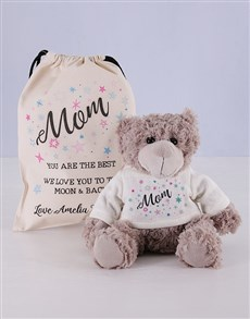 gifts: Personalised Mom Teddy Jersey Matching Drawstring!