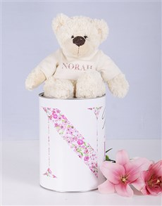 gifts: Personalised Mom Teddy jersey matching tin !