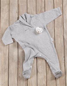 gifts: Grey Babygro & Personalised Dummy Gift!