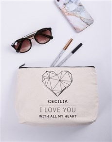 gifts: Personalised I Love You Cosmetic Bag!