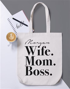gifts: Personalised Wife Mom Boss Tote Bag!