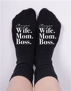 gifts: Personalised Wife Mom Boss Socks!