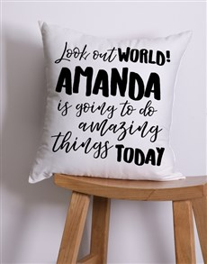 gifts: Personalised Look Out World Scatter Cushion!