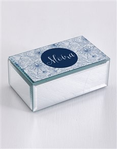 gifts: Personalised Blue Floral Mirror Trinket Box!