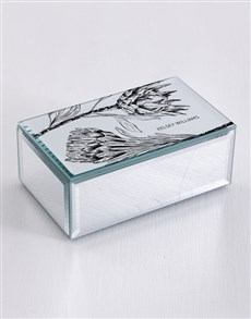 gifts: Personalised Protea Mirror Trinket Box!