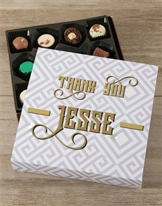 gifts: Personalised Golden Thank You Choc Tray!