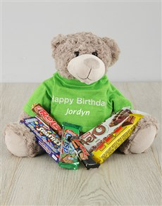 gifts: Personalised Happy Birthday Teddy and Chocs!