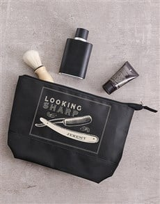 gifts: Personalised Leatherette Gents Brown Wash Bag!