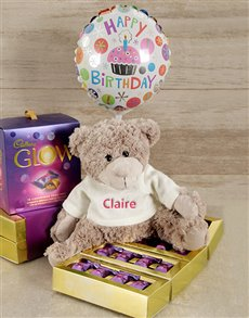 gifts: Personalised Happy Birthday Teddy Hamper!