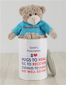 flowers: Personalised Get Well Soon Heal Teddy Tin!