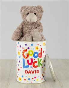 gifts: Personalised Starry Good Luck Teddy Tin!