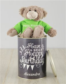 gifts: Personalised Beary Happy Birthday Teddy Tin!