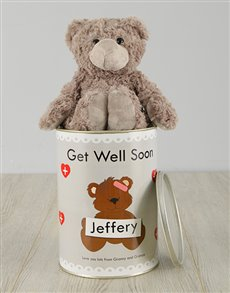 flowers: Personalised Get Well Soon Teddy Tin!
