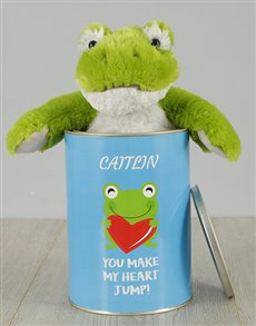 gifts: Personalised Green Frog Love Tin!