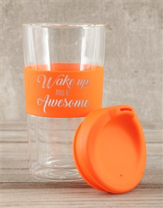 gifts: Personalised Wake Up and Be Awesome Travel Mug!