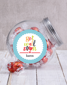 flowers: Personalised Get Well Soon Candy Jar!