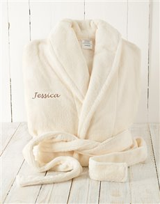 gifts: Cream Fleece Gown Personalised!