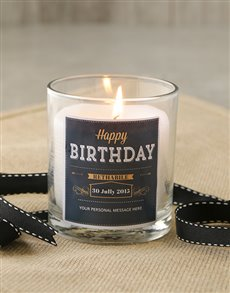 gifts: Personalised Black & Gold Happy Birthday Candle!