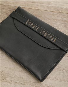 gifts: Personalised Black Envelope Cover   Front Strap!