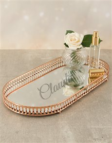 gifts: Personalised Rose Gold Mirror Vanity Tray!