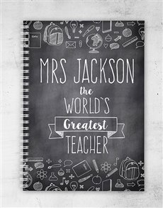gifts: Personalised Chalk Board Greatest Teacher Notebook!