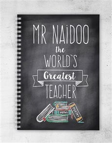 gifts: Personalised Book Worm Greatest Teacher Notebook!