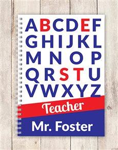 gifts: Personalised Alphabet Best Teacher Notebook!
