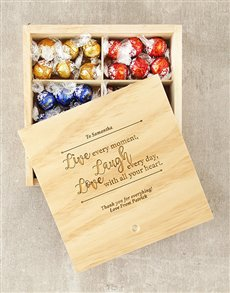 gifts: Personalised Live Laugh Love Lindt Box!