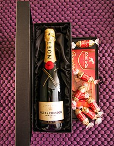 gifts: Moet and Chocolate Box!