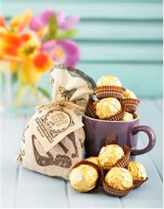 gifts: Hamper of Coffee Truffles and Le Creuset Mug!